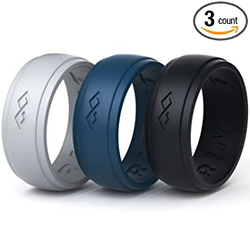 Amazon Com Silicone Wedding Ring For Men 3 Rings Set By Rinfit