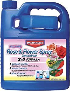 BioAdvanced 708262A All-in-One Rose & Flower Spray Systemic Insecticide, Fungicide, Miticide, Concentrate, 64-Ounce