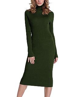 68a200fdd8a Rocorose Women s Turtleneck Ribbed Elbow Long Sleeve Knit Sweater Dress