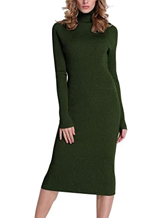 cbd0e8d5b Rocorose Women s Turtleneck Ribbed Elbow Long Sleeve Knit Sweater Dress  Army Green XS