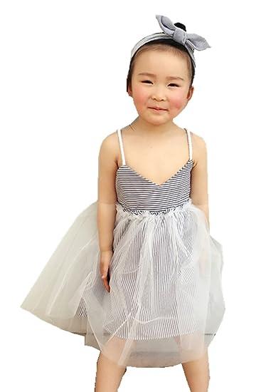 Ding Dong Kid Baby Girls Princess Striped Dress 1t