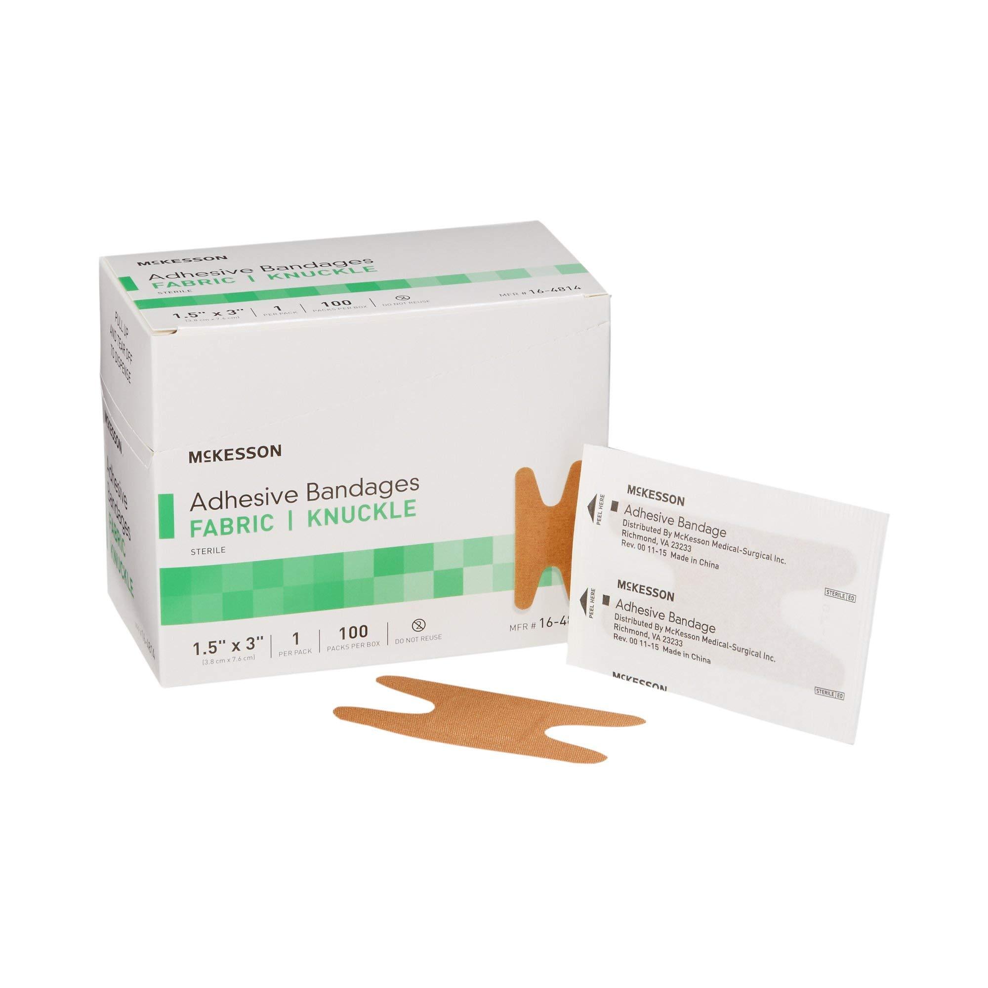 """McKesson Tan Fabric Adhesive Strip Sterile 1.5 x 3"""" 100 per Box"""