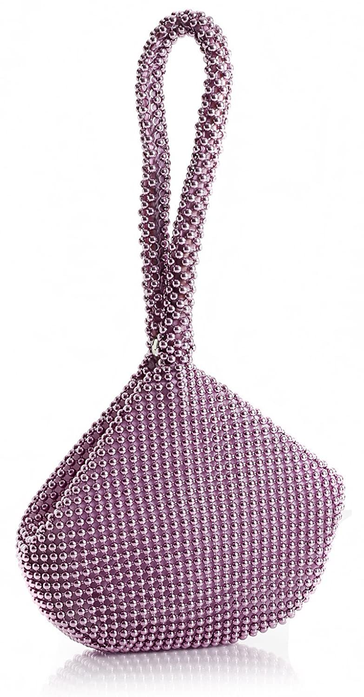 Big Handbag Shop Womens Mini Soft Body Beaded Wristlet Pouch Clutch Bag