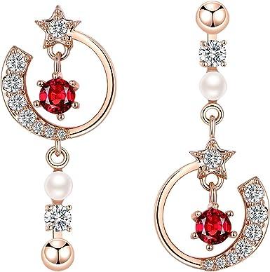Women/'s Fashion 925 Sterling Silver Red Star Tassel Chain Line Drop Earrings