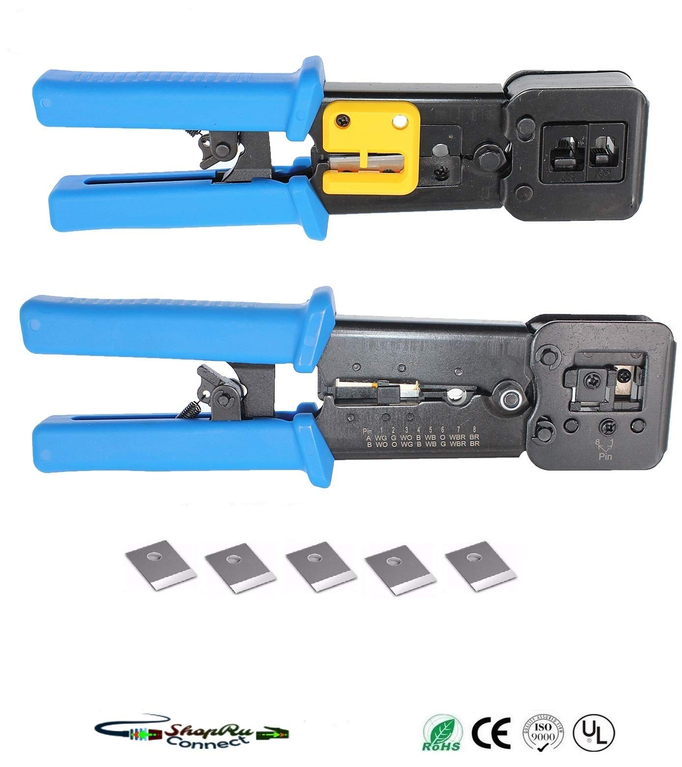 RJ45 Professional Heavy Duty Crimp Tool by ShopRu Connect for Pass Through Internet Network Connector (8 Pin Cavity Blade Replacement Combo Pack)
