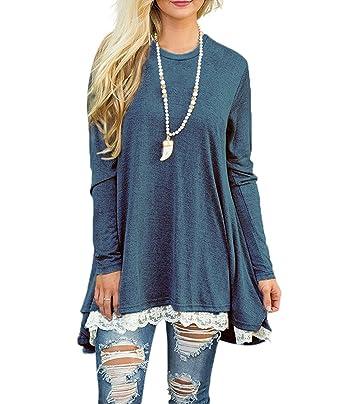 ba1483179e59 Women s Lace Long Sleeve Scoop Neck Tunic Tops Blouse Shirts for Leggings  Blue