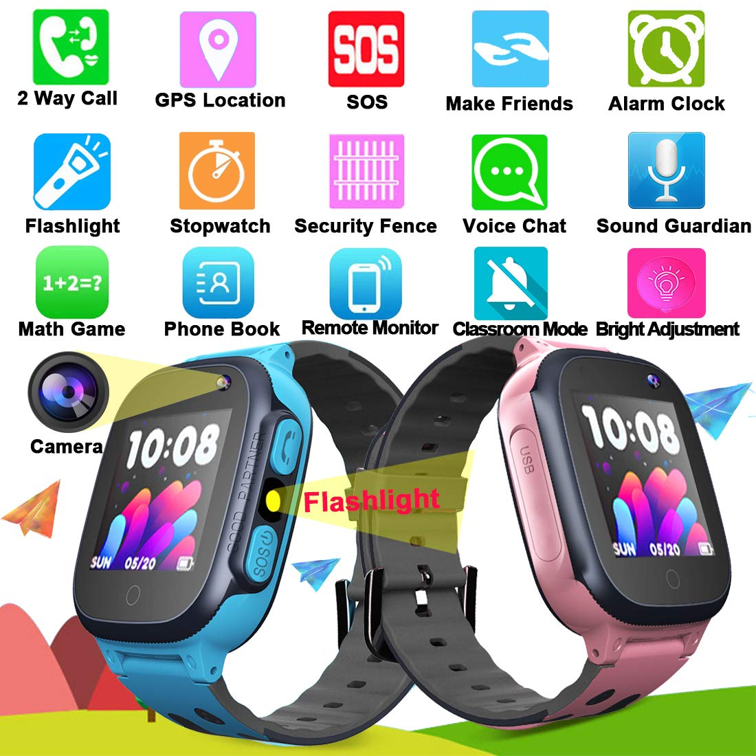 MiKin Children Smart Watches for Girls Boys Age 3-12 Kids Smartwatch Phone with GPS Tracker 2 Way Call SOS Remote Camera Touch Screen Alarm Clock Flashlight Voice Chat Gizmo Wrist Watch Android iOS by MiKin (Image #7)