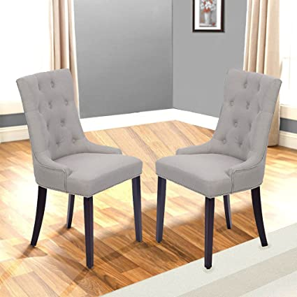 Dining Chair Set Of 2 Fabric Accent Room Side Chairs With Solid Wood Legs  For Dining