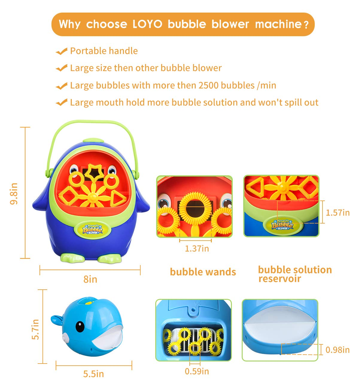 Bubble Machine - Automatic Bubble Blower with Bubble Solution for Kids Toddlers, Portable Bubble Maker with Bubbles Solution for Party, Wedding, Outdoor and Indoor Use, Battery Operated, Penguin Shape by LOYO (Image #5)