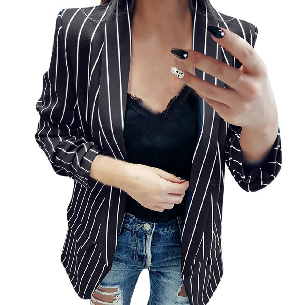 Women Ladies OL Long Sleeve Blazer Jacket Coat Striped Stylish Duster Open Front Cardigan Outwear