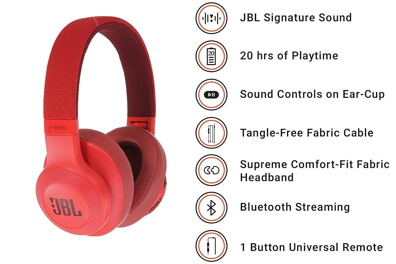JBL E55BT - Auriculares Bluetooth supraaurales (plegables con cable y control remoto universal, batería de hasta 20h) color rojo: Amazon.es: Electrónica
