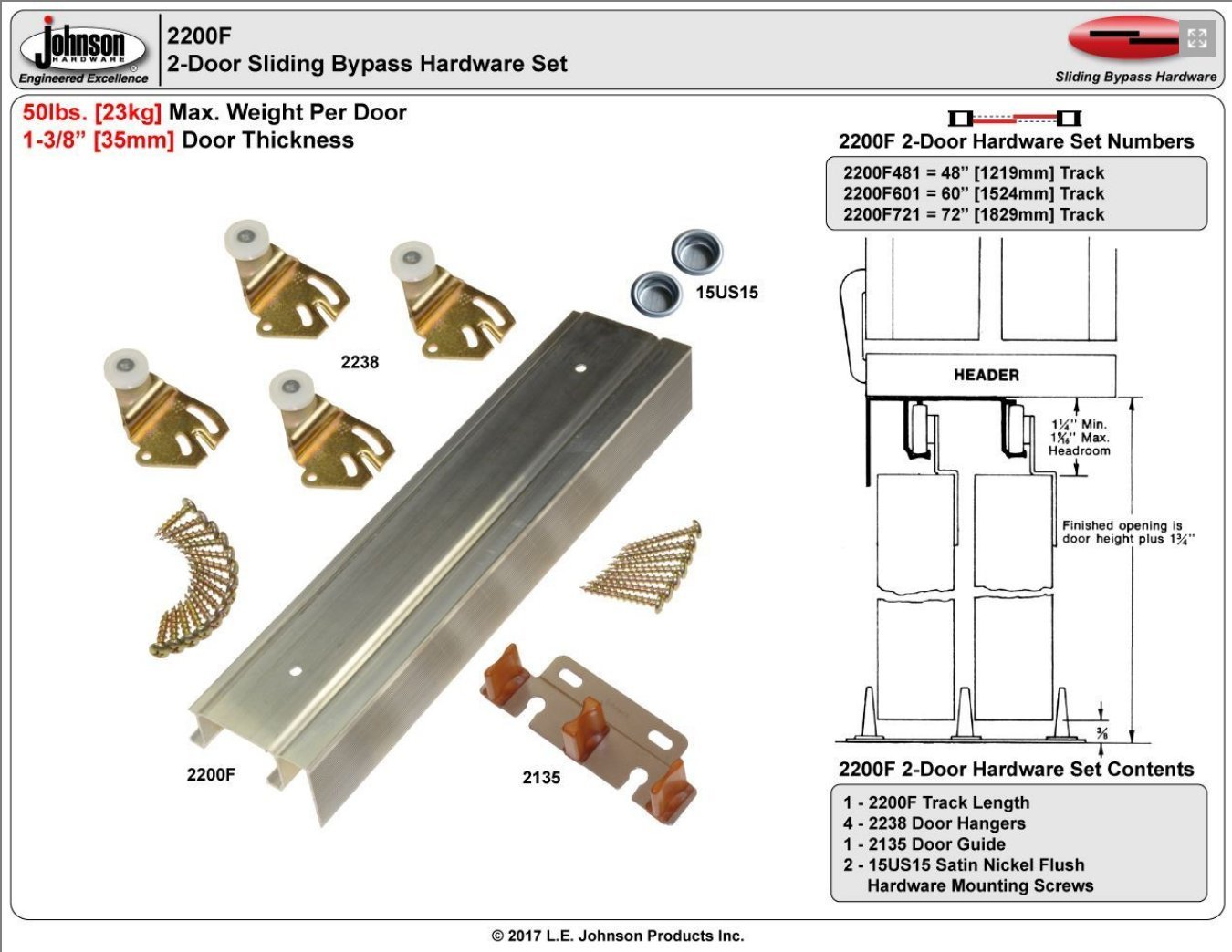 Johnson Hardware 2200F Twin Wheel Sliding Bypass Door Hardware 72''