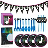 Music Video Party Supplies Set,Table Cover, Plates, Napkins, Straws, Forks, Knives, Spoons and Banner,Birthday Party…