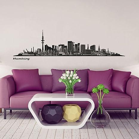 Wandkings Skyline pared – Adhesivo decorativo para pared en negro – TU Ciudad A Elegir), Hamburg (Design B)