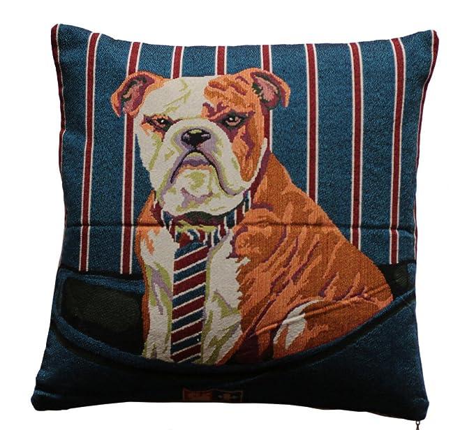 Impresión hermosa del perro Colores verdes y rojos 18 x 18 Cojines Cojines Almohada para la cama del sofá (Bulldog print): Amazon.es: Ropa y accesorios