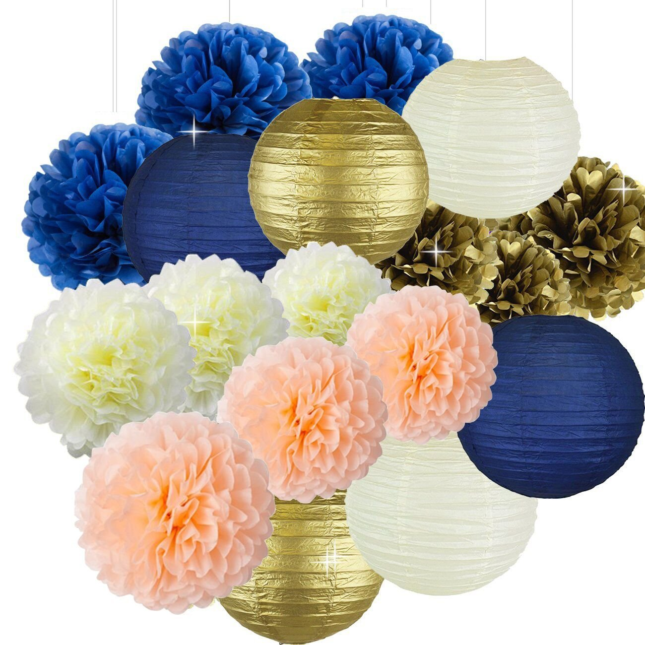 Sorive Bridal Shower Decorations Navy Peach Gold Birthday Tissue Paper Pom Lanterns For Wedding Party