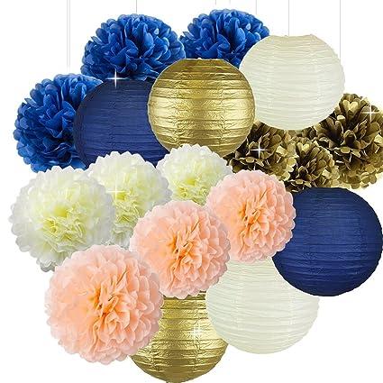 Amazon Sorive Bridal Shower Decorations Navy Peach Gold