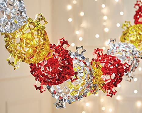 Hanging Christmas Decorations Ceiling.2m Christmas Multi Colour Foil Snowflake Hanging Decoration Festive Xmas Party Wall Ceiling Garland