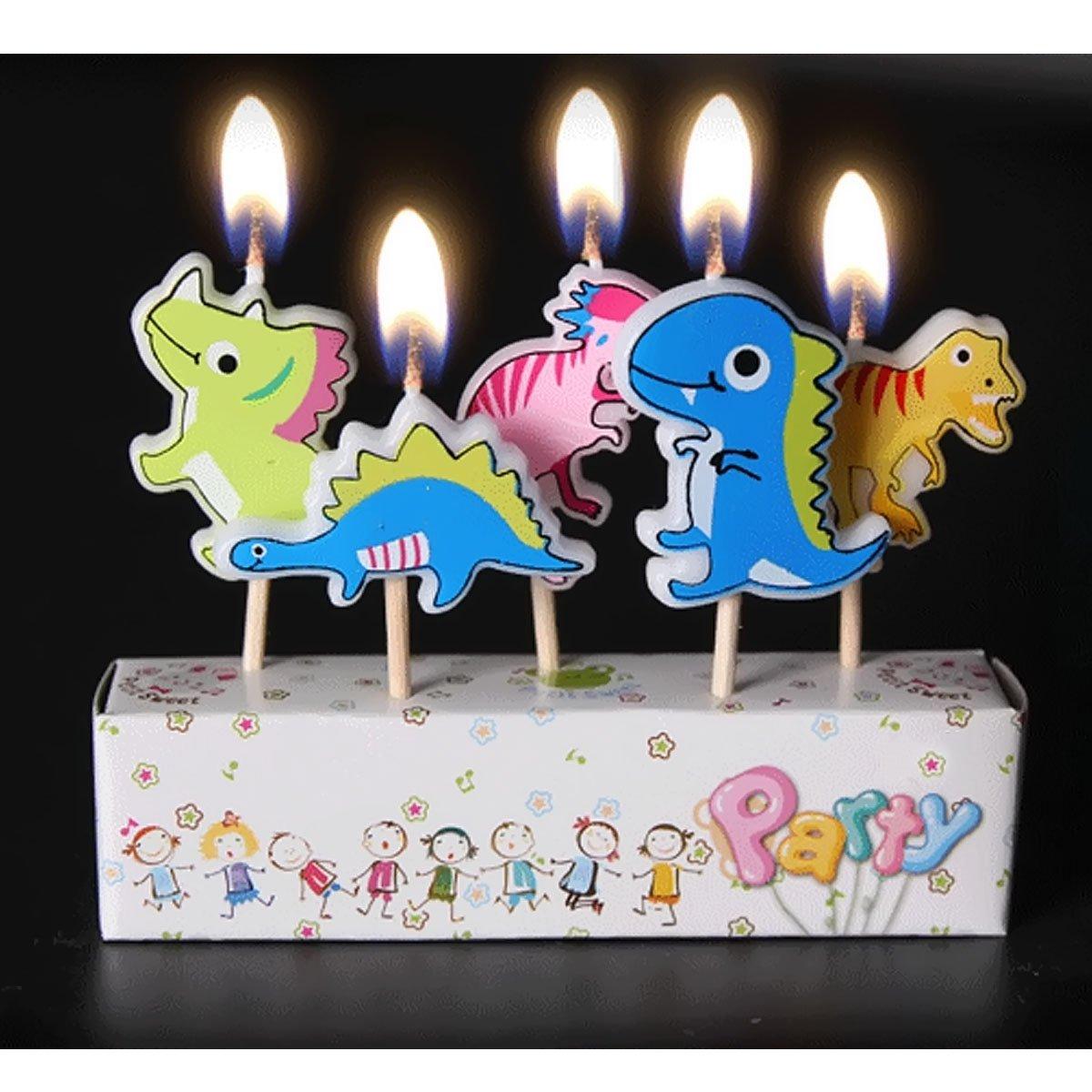 Tortendeko lustige bunte Kerzen f/ür Geburtstagskuchen o./ä. verschiedene Designs Dinos