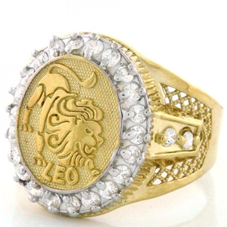 10k Solid Yellow Gold Mens Zodiac CZ Ring - Leo