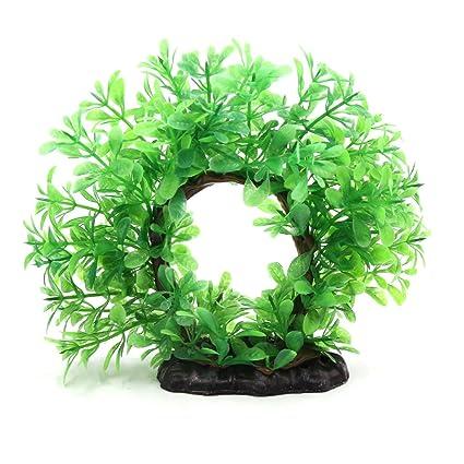 sourcing map Verde Planta Decorativa de Hojas de Plástico de Pecera Tanque de Betta Árbol con