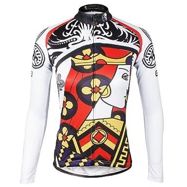 ILPALADINO Women s Cycling Jersey Long Sleeve Biking Shirts Breathable  Poker ... d38cb676e