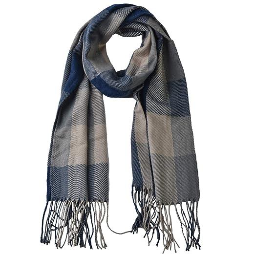 3b0c1974b89f Woogwin Womens Big Grid Winter Warm Lattice Large Scarf Stylish Plaid  Blanket Long Shawl Wrap (