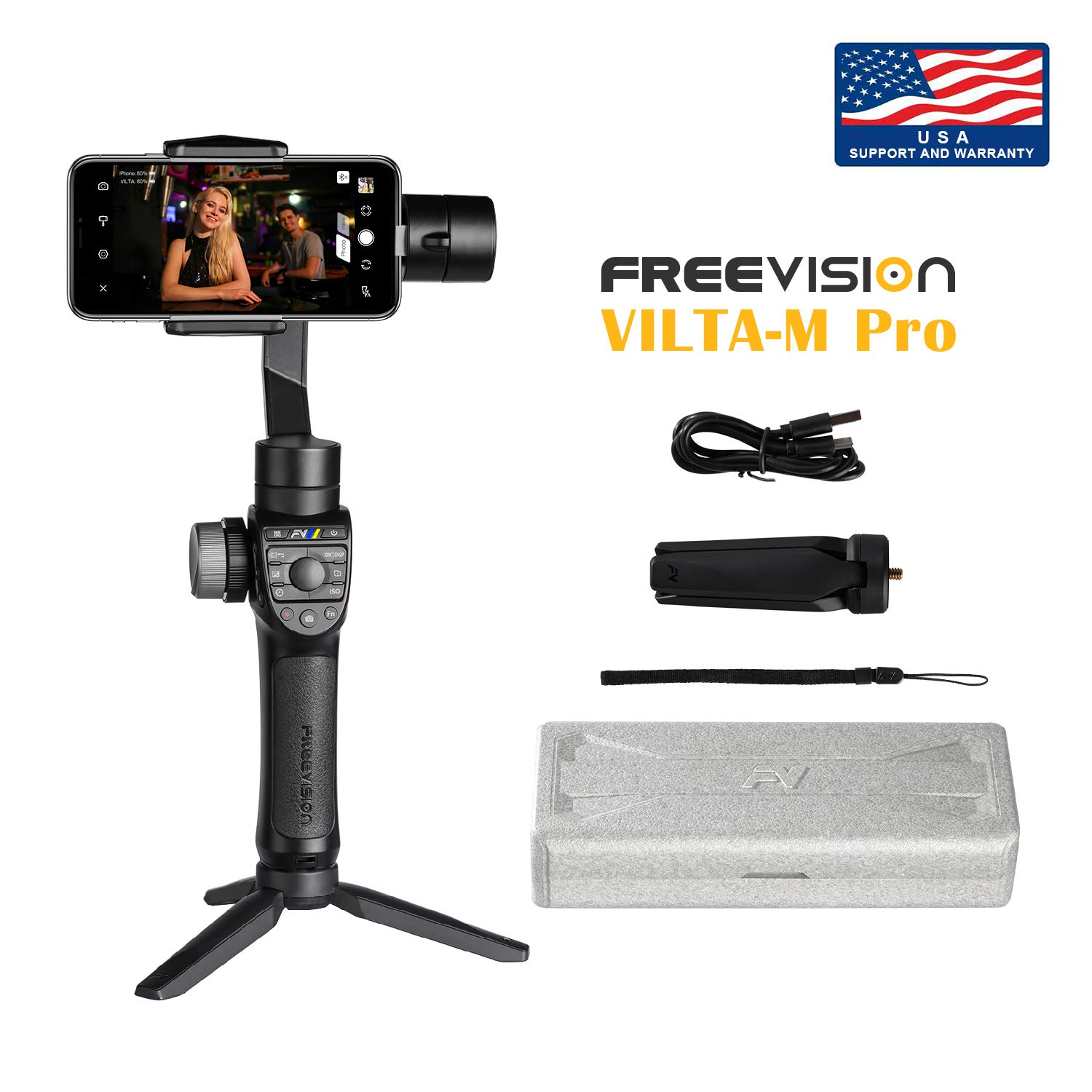 Official Site: Freevision Vilta-M Pro 3-Axis Handheld Stabilizer Gimbal for iPhone, Samsung, Premium Stability Performance, Double Wheel, Preset Mark A/B Focal Point, Wireless Charging