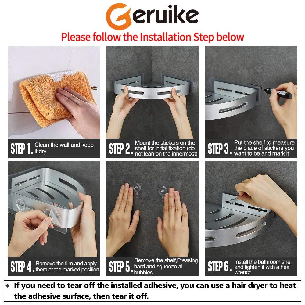 GERUIKE Doccia Caddy Adesivo di Aspirazione Senza Foratura Bagno Mensola Doccia Alluminio Angolare Scaffale per Doccia Antiruggine Argento Triangolo