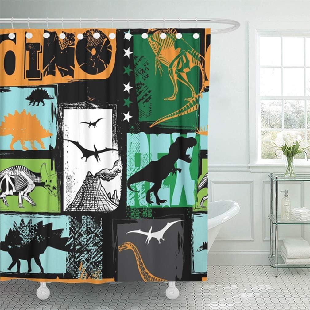 "Emvency 72""x72"" Shower Curtain Waterproof Bathroom Home Decor Shark Dino Pattern for Original Design with Rex Dinosaur Grunge for Boys Kids Summer Polyester Fabric Adjustable Hooks Set"