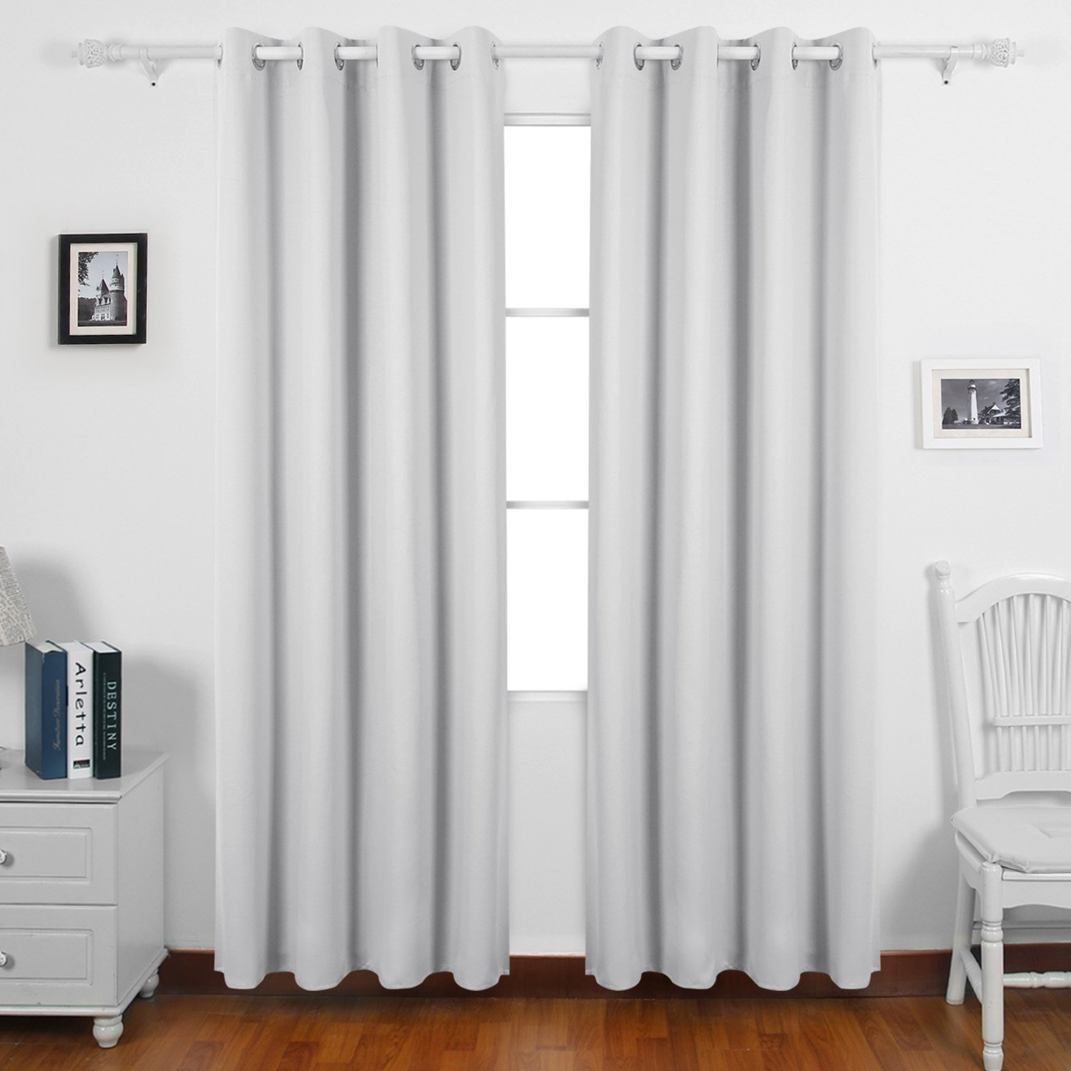 Deconovo Super Soft Thermal Insulated Eyelet Ready Made Curtains Embossed Blackout For Nursery 46 X