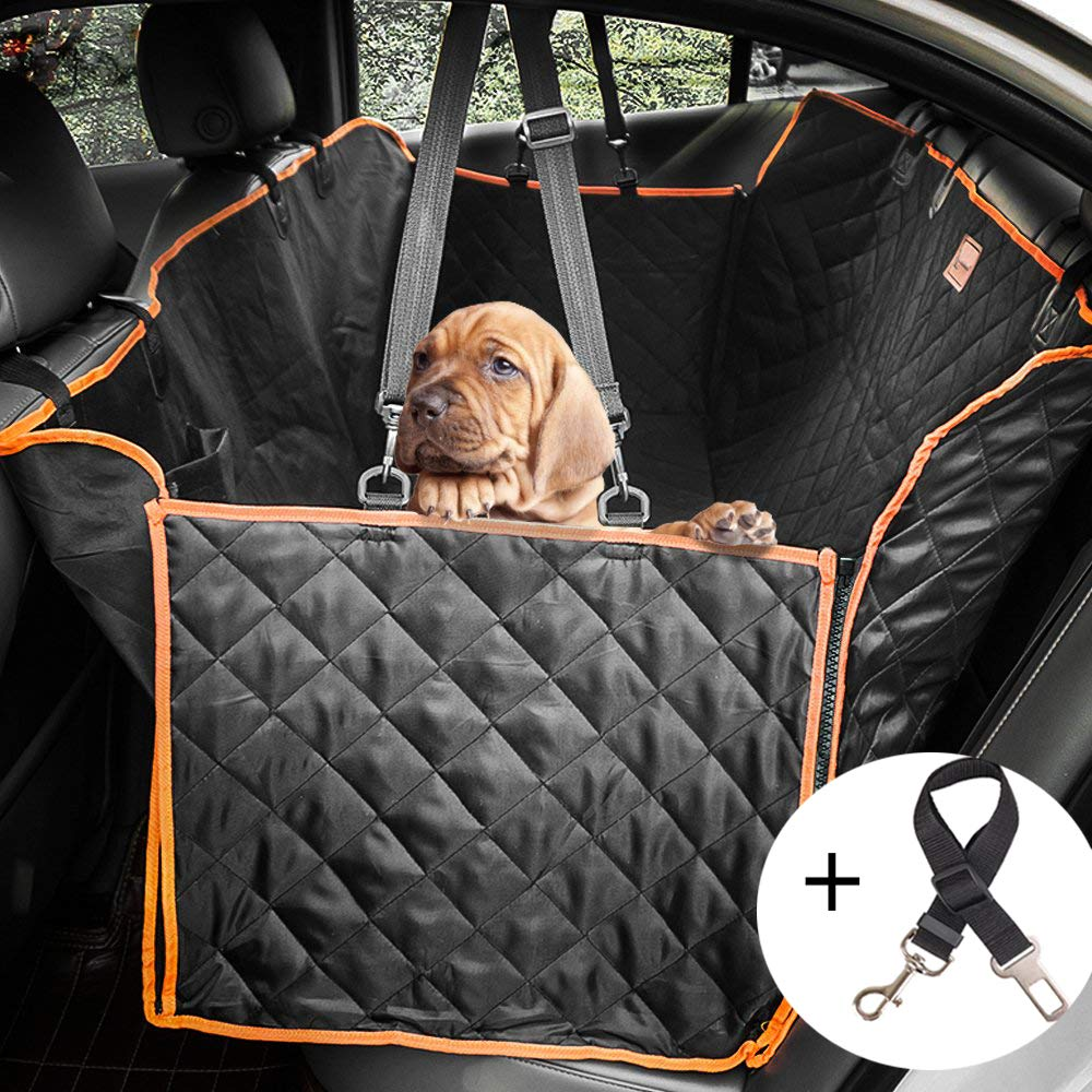 Lantoo Dog Seat Cover, Upgrade Large Back Seat Pet Seat Cover Hammock for Cars, Trucks, SUVs with Nonslip Backing, Side Flaps, Waterproof, Soft Black