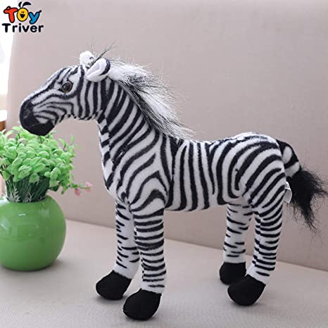 JEWH Plush Simulation Horse Toy - Stuffed Animal Zebra Doll - Black White Horses Baby Kids