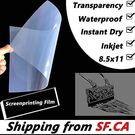 """200 Sheets Waterproof Inkjet Transparency Film 8.5/"""" x 11/"""""""