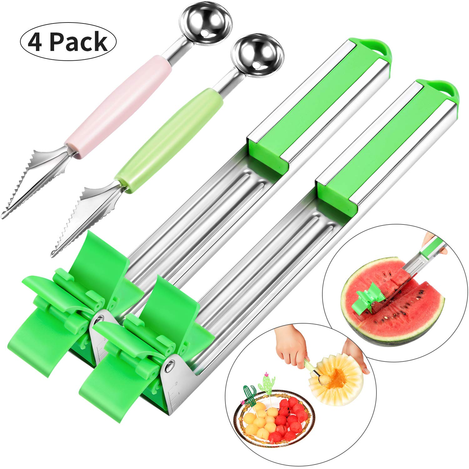 4 Pieces Stainless Steel Watermelon Slicer Cutter Kit Melon Baller Scoop Novel Windmill Watermelon Cutter Tongs Knife Corer Fruit Vegetable Tools Kitchen Gadgets by Maitys