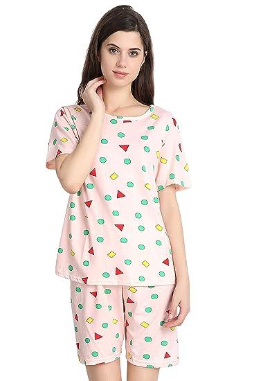 c727fd6edc4 Fflirtygo Top and Shorts for Women Cotton/Nightwear Pajama Set for  Women/Night Dress/Lounge wear/Night Suit/Short Sleeve/Geometrical Shape  Printed On ...