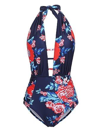 13d70f3af4e45 Meflying Women Deep Plunge Halter Striped Floral Print High Waist One Piece  Swimsuit
