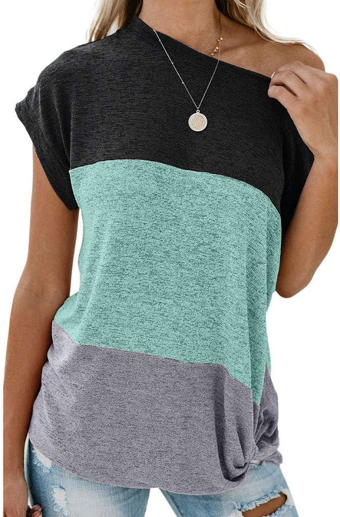 SMILEQ Camiseta de Las Mujeres Color sólido Costura Nudo Off ...