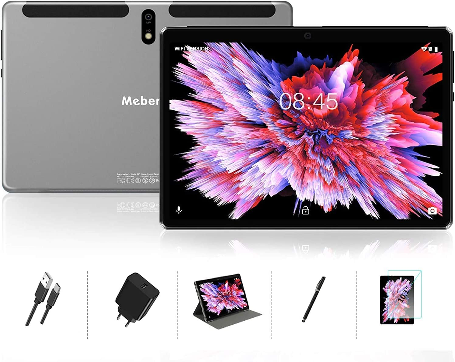 Android 10.0 Tablet : MEBERRY 10 inch Tablets with 4GB RAM+64GB ROM| 128GB Expansion| Octa-Core Processor| Google Certified| 8000mAh Battery| WiFi| GPS| Double Camera, Grey