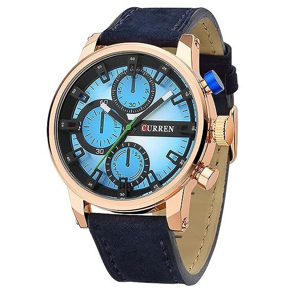 reloj azul claro ocasional de los hombres grandes del dial con el reloj para hombre de