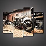 4 Panels Vintage Vehicle Pictures Racing Motorcycle In The Workshop For  Repair Digital Drawing Giclee Painting
