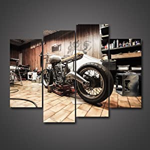 4 Panels Vintage Vehicle Pictures Racing Motorcycle In The Workshop For Repair Digital Drawing Giclee Painting On Canvas Home Decoration Living Room Office Wall Art by uLinked Art