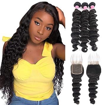 Alipearl Hair Loose Deep Wave Hair Extentions Loose Deep Wave Hair Bundles, 4x4 Lace Closure,13x4 Lace Frontal Closure Ali Pearl Hair(12 14 16+10