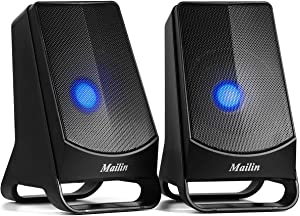 Mailin Computer Speakers, 2.0 Stereo 3.5mm Laptop Speakers, LED Lights USB Speakers 6W RMS Total Power Electronic Computer Speakers, Desktop Speakers, Suitable for PC, Tablet, MP3