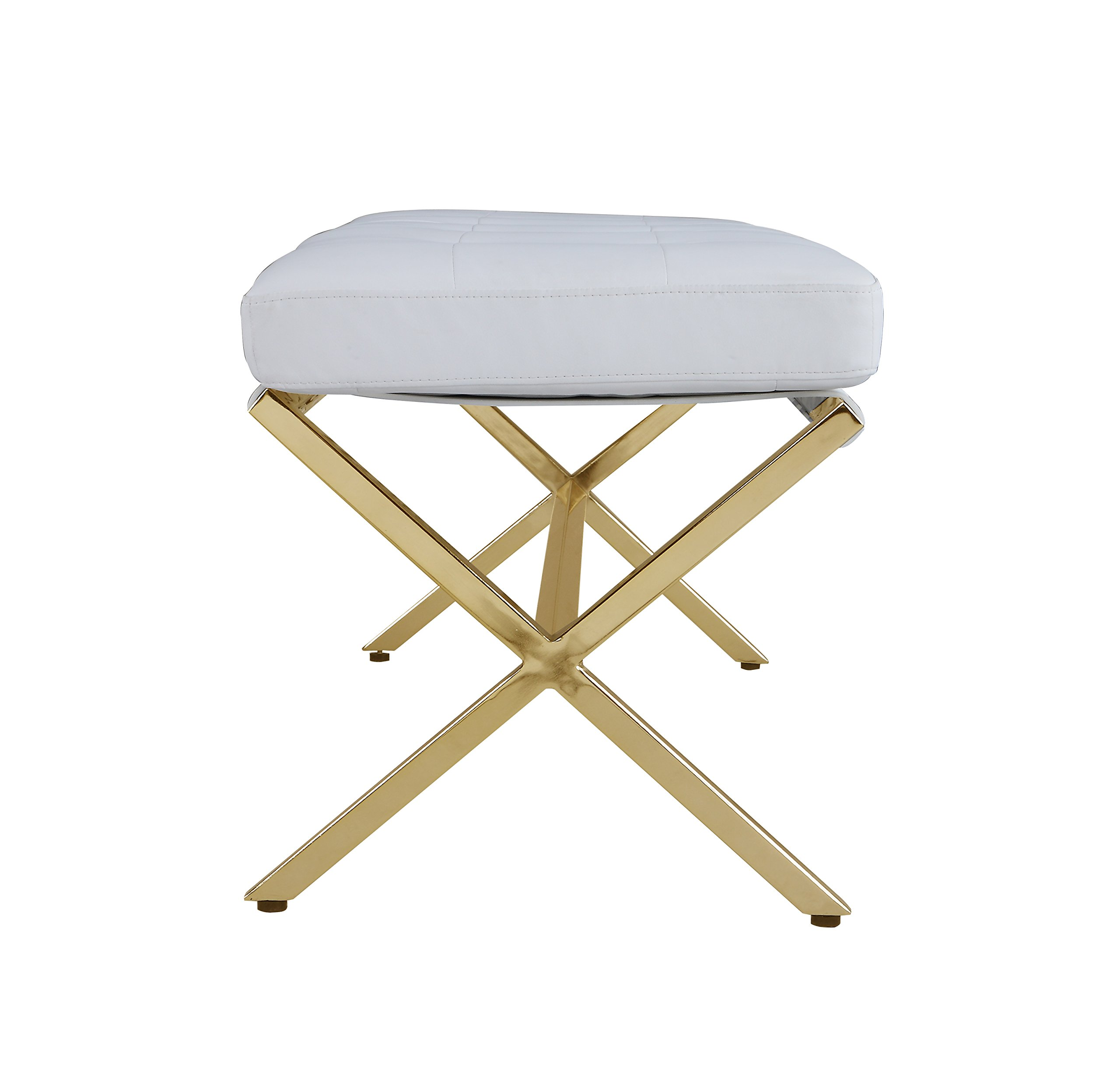 Iconic Home Claudio PU Leather Modern Contemporary Tufted Seating Goldtone Metal Leg Bench, White by Iconic Home (Image #3)