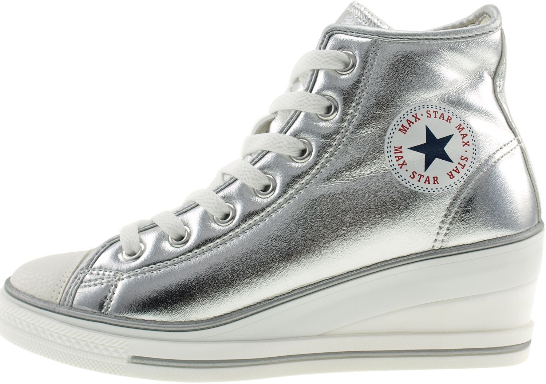 Maxstar Women's 7H Zipper B00COWNLQC Low Wedge Heel Sneakers B00COWNLQC Zipper 7 B(M) US Pu-silver 29ebd1