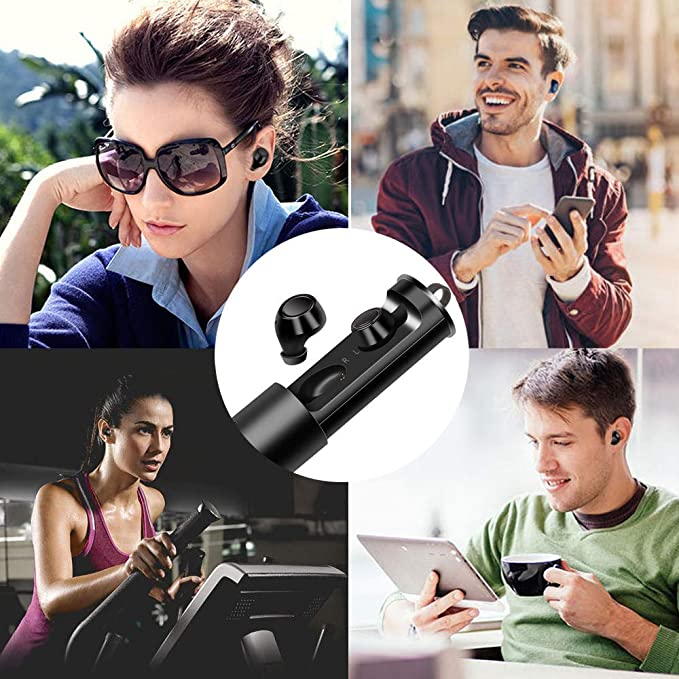 Glowjoy Wireless Ohrh/örer,Kabelloses In-Ear-Headset Bluetooth Kopfh/örer Sportkopfh/örer,Bluetooth 5.0 Stereo Sport Earphones mit Ladekoffer,CVC L/ärmreduzierung Kopfhoerer f/ür iOS Android Schwarz