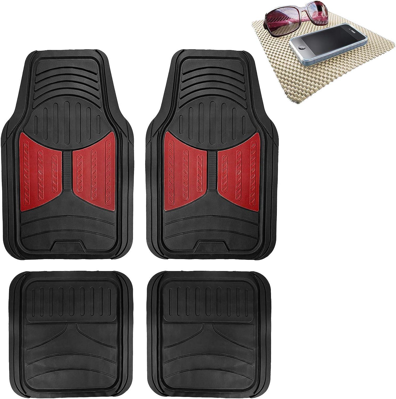 TLH Monster Eye Car Floor Mats Full Set Universal Fit, Burgundy Color w/Non Slip Dash Pad