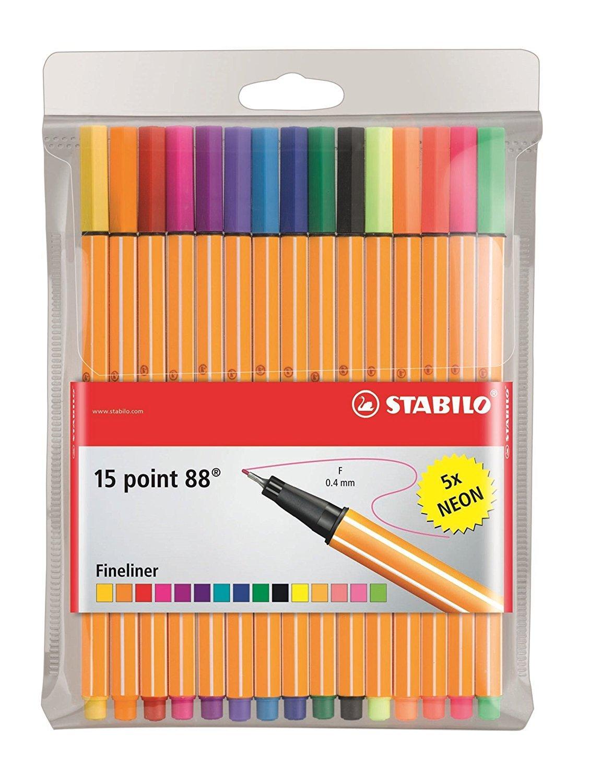 Stabilo 88 15-Color Wallet Set 2-Pack