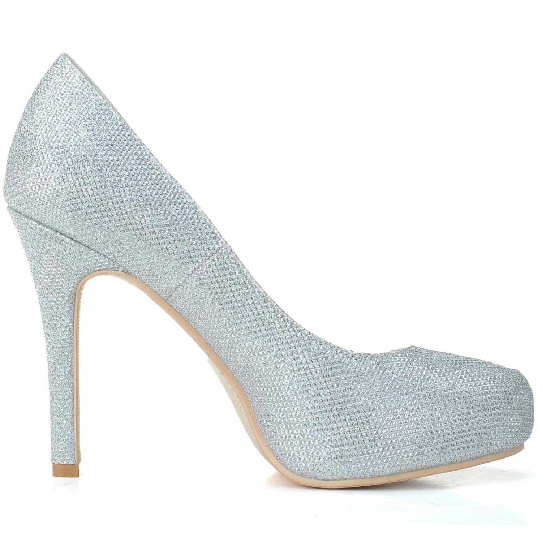 Elobaby wies Frauen Hochzeit Schuhe wies Elobaby Funkelnde Brautjungfer High Heels Prom/große Größe/nach Maß Silver da99f5